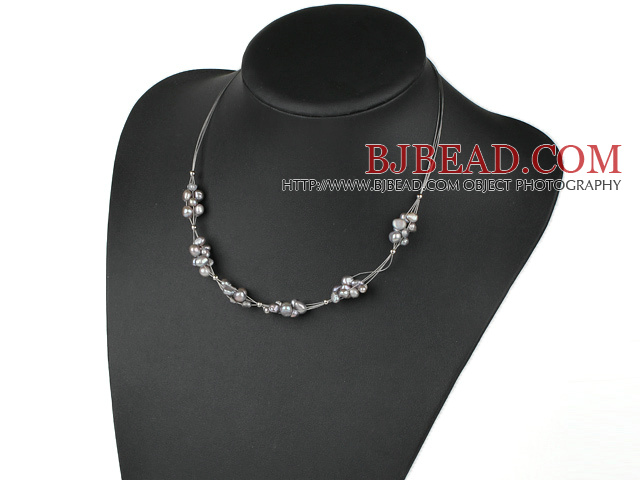 fashion design gray freshwater pearl necklace