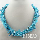 Blue Series Multi Strands Blue Freshwater Pearl Crystal and Shell Necklace