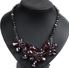 Gorgeous Party Style Natural Black Freshwater Pearl AB color Crystal Flower Bib Necklace