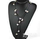 Long Style White Freshwater Pearl Necklace with Black Cord
