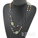 pearl and three colored jade necklace