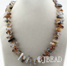 Assorted Single Strand Gray Agate Necklace with Big Lobster Clasp under $ 40