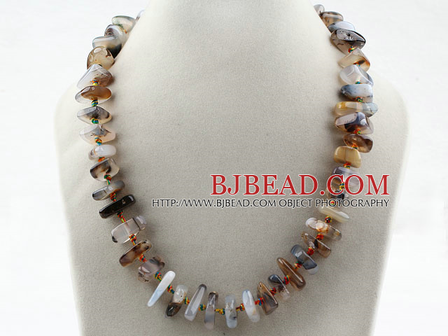 Assorted Single Strand Gray Agate Necklace with Big Lobster Clasp