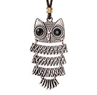 Newly Fashion Style Owl Shape Pendant Necklace with Brown Leather and Lobster Clasp