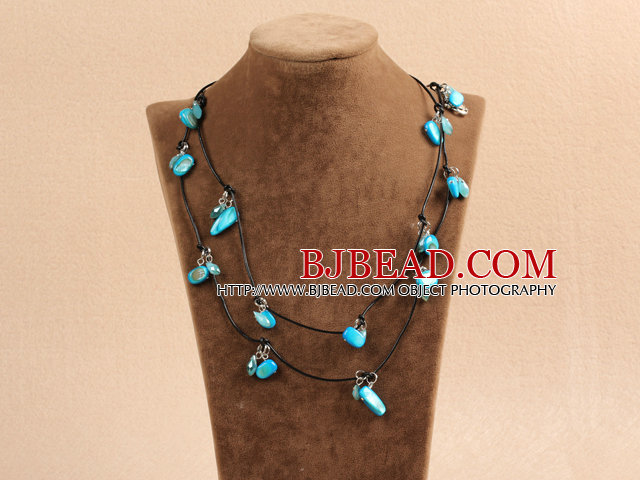 Fashion Long Style Blue Series Crystal Shell Necklace With Black Leather (Sweater Chain)