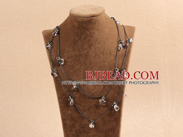Fashion Long Style Clear & Black Crystal Necklace With Black Leather (Sweater Chain)
