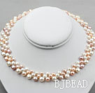 Natural White Pink Purple Freshwater Mabe Pearl Bridal Necklace