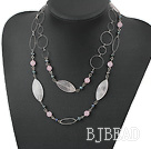 black pearl rose quartz necklace