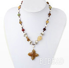 pearl three color jade necklace