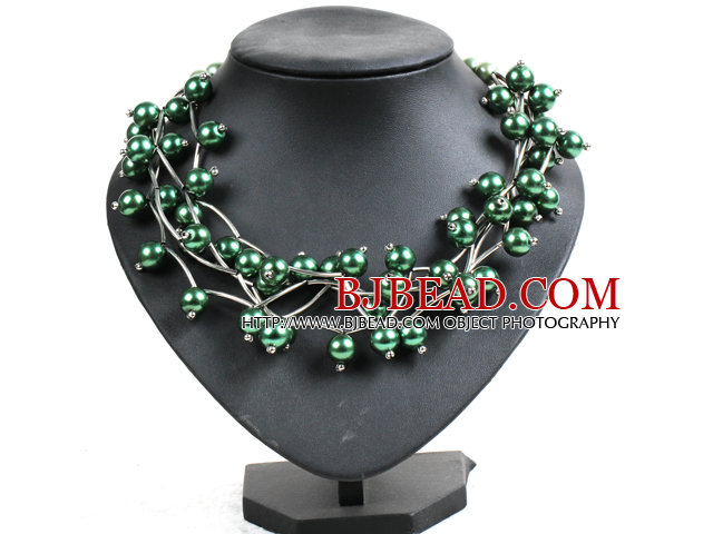Trendy Style Multi Strand Deep Green Seashell Beads Twisted Necklace With Bending Alloyed Tube