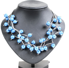 Trendy Style Multi Strand Blue Seashell Beads Twisted Necklace With Bending Alloyed Tube