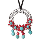 Newly Fashion Drop Long Style Red Coral and Turquoise Flower Pendant Necklace with Soft Leather under $ 40