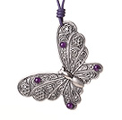 Delicate Beautiful Tibet Silver Butterfly Pendant Necklace with Purple Jade and Leather