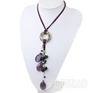 hot persian agate and black pearl necklace