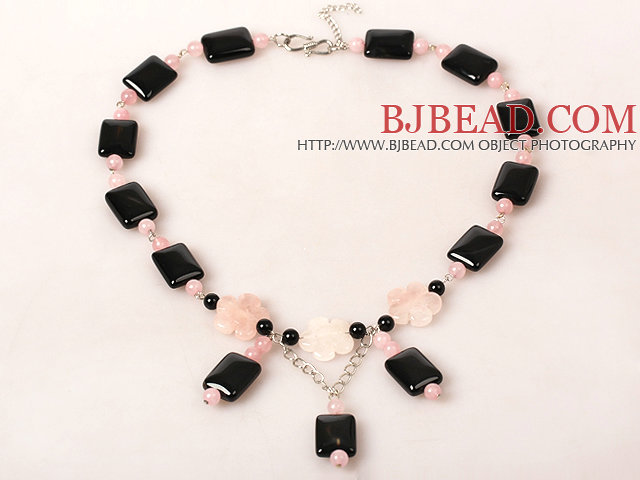 Rectangle Shape Black Agate and Rose Quartz Necklace
