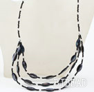 Three Layer Black Crystal and Black Shell Necklace