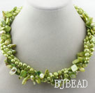 Assorted Multi Strands Dyed Lemon Green Teeth Shape Pearl and Green Shell Twisted Necklace