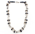 pearl and black rutilated quartz necklace