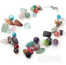 multi strand pearl crystal and multi color gem necklace under $ 40
