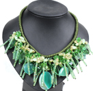 Fantastic Sparkly Green Series Crystal Agate Aventurine Beads Hand-Knitted Party Necklace
