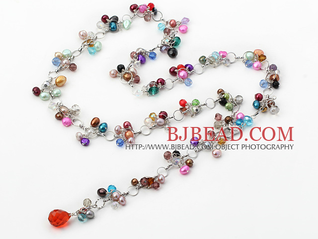 pearl and crystal Y style long necklace