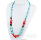 coral and turquoise necklace with moonlight clasp