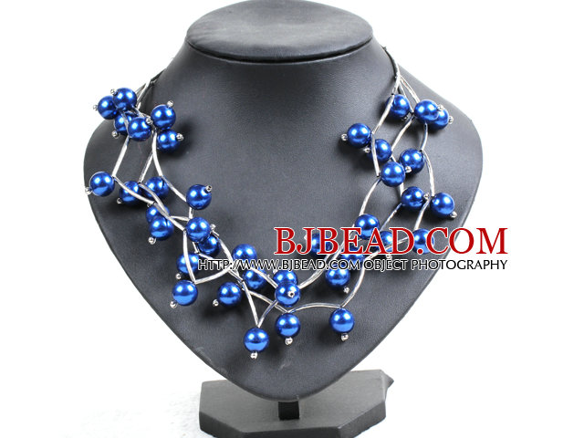 Trendy Style Multi Strand Royalblue Seashell Beads Twisted Necklace With Bending Alloyed Tube