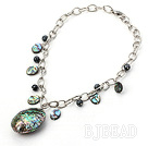unakite and abalone shell necklace