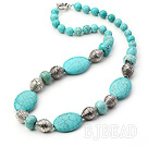 turquoise and tibet siver necklace with moonlight clasp