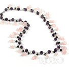 amethyst and rose quartze necklace
