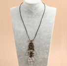 Simple Retro Style Heart Shape Clear Crystal Pendant Necklace With Black Leather