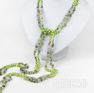 multi strand green pearl and grapestone necklace