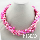 Assorted Multi Strands Dyed Pink Teeth Shape Pearl and Pink Shell Twisted Necklace