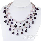 trendy pink crystal and amethyst necklace under $ 40