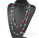 long style coral and turquoise necklace