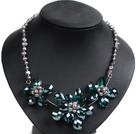 Gorgeous Party Style Natural Gray Freshwater Pearl Peacock Green Crystal Flower Bib Necklace