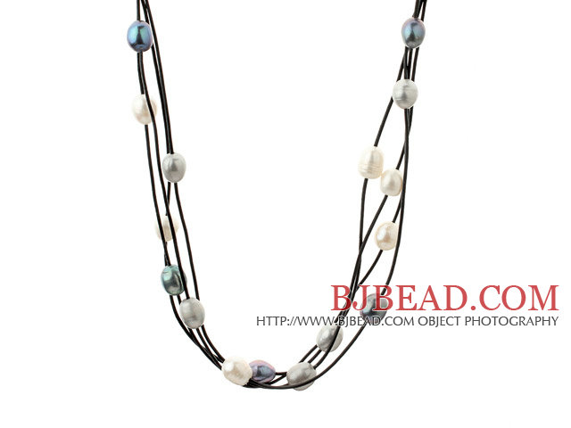 Three Strands 11-12mm White Black Gray Freshwater Pearl and Black Leather Necklace