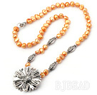 pearl and tibet silver flower necklace