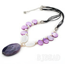 pealr agate and purple shell necklace