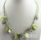 17.7 inches green colored glaze necklace with extendable chain under $ 40