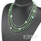 Multi Strands Green Pearl Crystal and Aventurine Necklace under $ 40