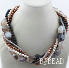 multi strand pearl and agate necklace