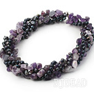 multi strand black pearl and natural amethyst necklace