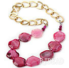 Hot Pink Color Burst Pattern Crystallized Agate Knotted Necklace with Golden Color Metal Chain ( The Chain Can Be Deducted )