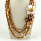 Brown Seires Big Style Multi Strands Brown Pearl Crystal and White Lip Shell Flower Party Necklace