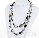long style black rutilated quartz necklace