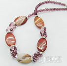 crsyal and red agate necklace under $ 40