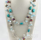 47.2 inches bright color crystal aquamarine and turquoise necklace