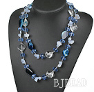 fashion long style blue agate and crystal necklace
