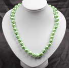 12mm Light Green Round Glass Pearl Beads Choker Necklace Jewelry